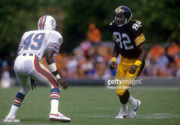 John Stallworth of the Pittsburgh Steelers moves against the defense of William Judson of the Miami Dolphins during an NFL football game at The...