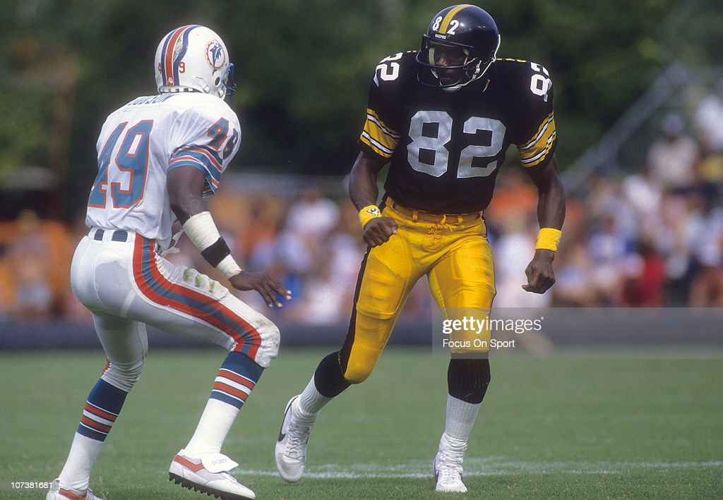 <a gi-track='captionPersonalityLinkClicked' href=/galleries/search?phrase=John+Stallworth&family=editorial&specificpeople=585421 ng-click='$event.stopPropagation()'>John Stallworth</a> #82 of the Pittsburgh Steelers moves against the defense of William Judson #49 of the Miami Dolphins during an NFL football game at The Orange Bowl circa 1985 in Miami, Florida. Stallworth played for the Steelers from 1974-87.