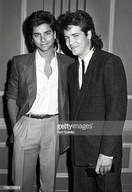 John Stamos and Michael Damian during On the Set of 'Never Too Young To Die' October 5 1985 in San Pedro California United States