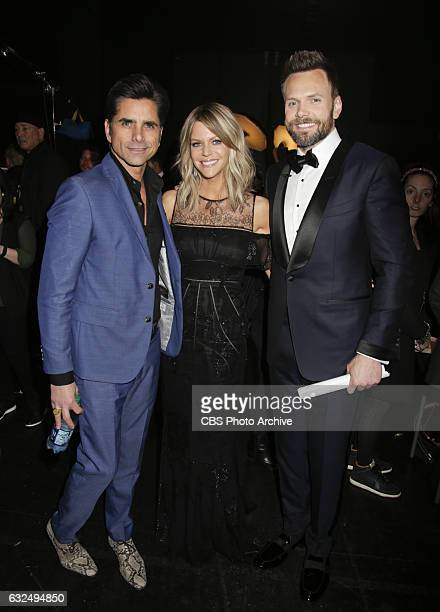 John Stamos Kaitlin Olson and Joel McHale backstage at the PEOPLE'S CHOICE AWARDS 2017 the only major awards show where fans determine the nominees...