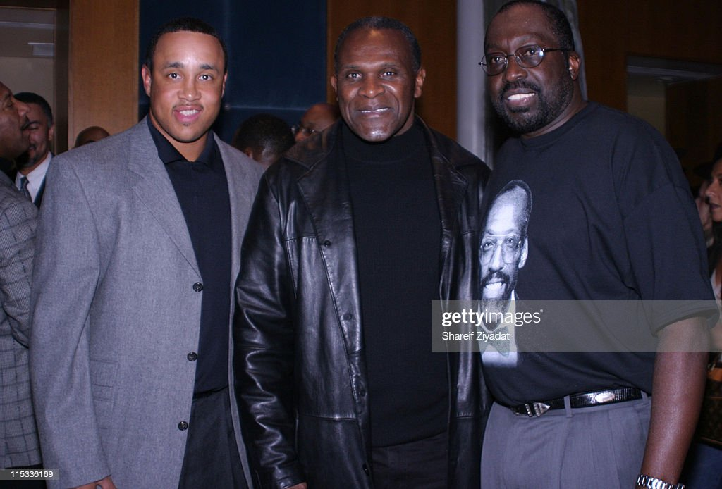 John Starks Harry Carson and Earl Monroe during Grand Opening of Earl Monroe's Restaurant in New York City October 31 2005 at Earl Monroe's in New...