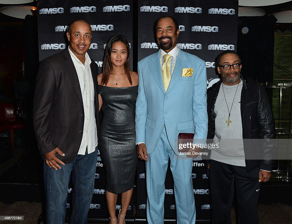 John Starks Jarah Mariano Walt 'Clyde' Frazier and Spike Lee attend MSG Networks' 201415 season launch party at Catch Roof on October 6 2014 in New...