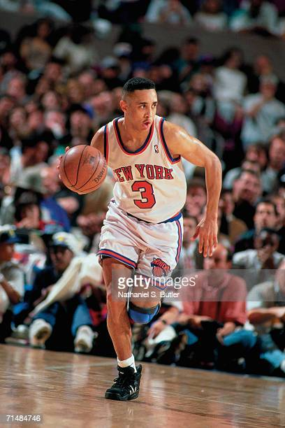 John Starks of the New York Knicks drives the ball up court against the Indiana Pacers during Game Seven of the 1994 Eastern Conference SemiFinals on...