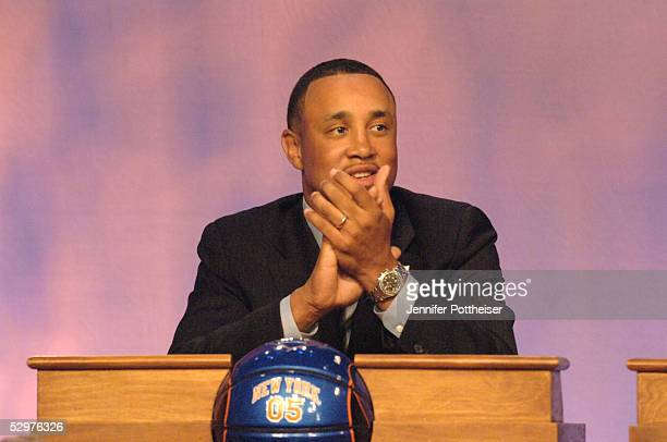 John Starks of the New York Knicks reacts to getting the lottery pick during the 2005 NBA Draft Lottery on May 24 2005 at the NBA Entertainment...