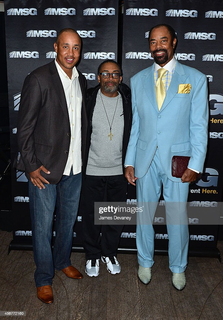 John Starks, Spike Lee and Walt 'Clyde' Frazier attend MSG Networks' 2014-15 season launch party at Catch Roof on October 6, 2014 in New York City.