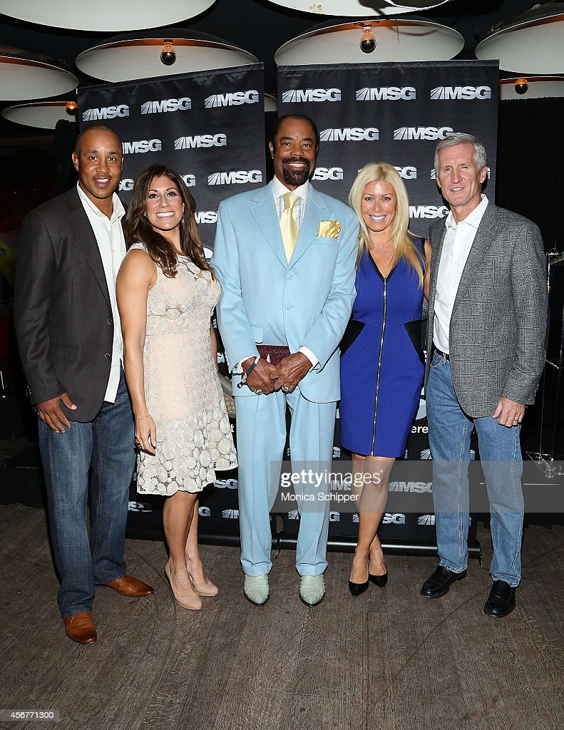 John Starks Tina Cervasio Walt Clyde Frazier Jill Martin and Mike Breen attend MSG Networks' 201415 Season Kickoff at Catch Roof on October 6 2014 in...