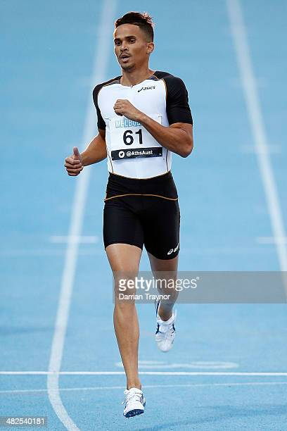John Steffensen competes in the 400 metres during the 92nd Australian Athletics Championships at Olympic Park on April 3 2014 in Melbourne Australia