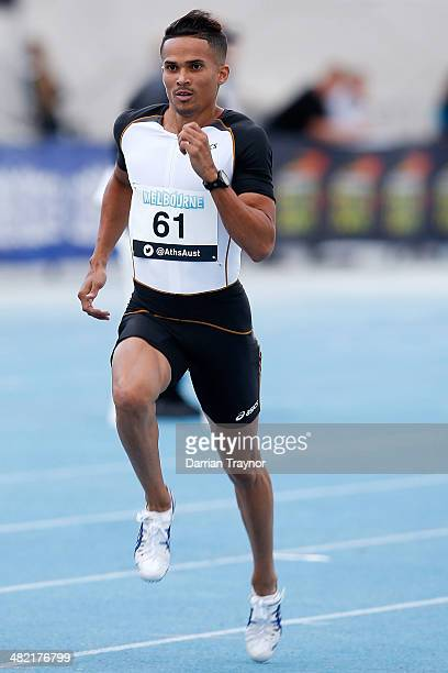John Steffenson of NSW competes in the Mens 400m Prelims during the 92nd Australian Athletics Championships at Olympic Park on April 3 2014 in...