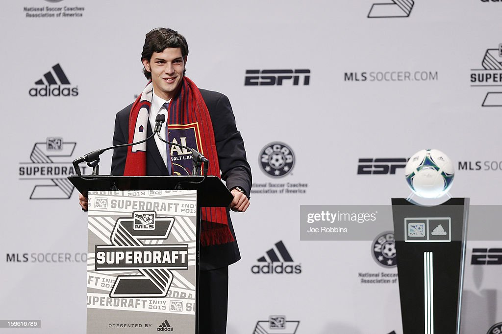 John Stertzer of Maryland speaks after being selected by Real Salt Lake as the 12th overall pick in the 2013 MLS SuperDraft Presented by Adidas at the Indiana Convention Center on January 17, 2013 in Indianapolis, Indiana.