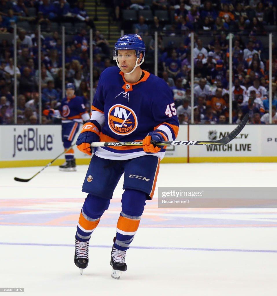 John Stevens #45 of the New York Islanders skates against the Philadelphia Flyers during a preseason game at the Nassau Veterans Memorial Coliseum on September 17, 2017 in Uniondale, New York. The Islanders defeated the Flyers 3-2 in overtime.