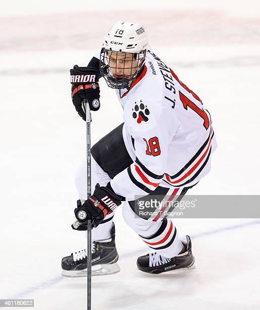 John Stevens of the Northeastern Huskies skates during NCAA hockey against the Yale Bulldogs at Matthews Arena on January 6 2015 in Boston...