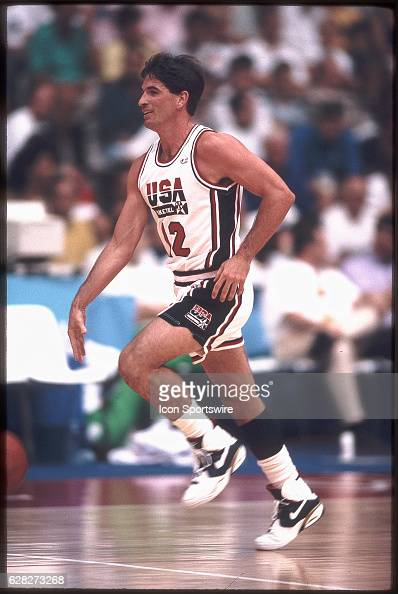 John Stockton of Team USA the Dream Team dribbles the ball during the men's basketball competition at the 1992 Summer Olympics in Barcelona Spain