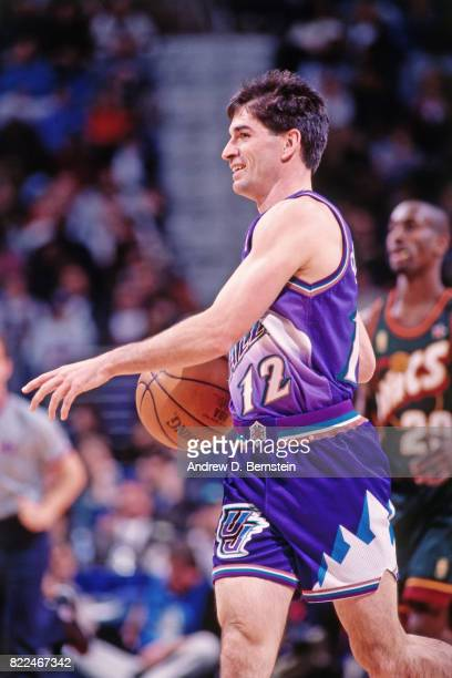 John Stockton of the Utah Jazz dribbles during the 1997 AllStar Game on February 9 1997 at Gund Arena in Cleveland Ohio NOTE TO USER User expressly...