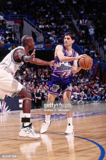John Stockton of the Utah Jazz looks to pass during the 1997 AllStar Game on February 9 1997 at Gund Arena in Cleveland Ohio NOTE TO USER User...