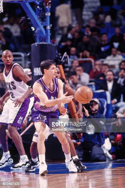 John Stockton of the Utah Jazz passes during the 1997 AllStar Game on February 9 1997 at Gund Arena in Cleveland Ohio NOTE TO USER User expressly...