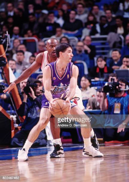 John Stockton of the Utah Jazz posts up during the 1997 AllStar Game on February 9 1997 at Gund Arena in Cleveland Ohio NOTE TO USER User expressly...