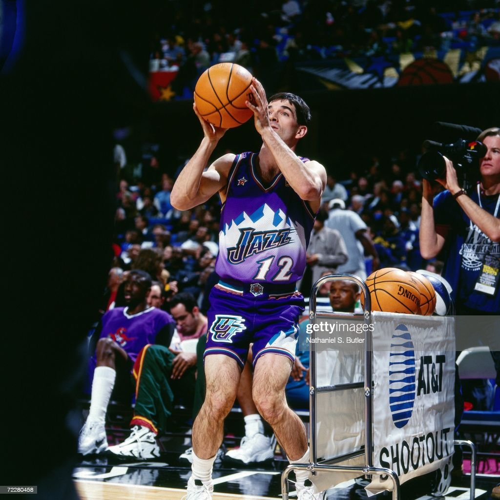 John Stockton of the Utah Jazz shoots a jump shot during the 1997 ATT Three Point Shootout on February 8 1997 at the Gund Arena in Cleveland Ohio...