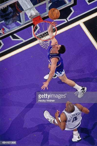 John Stockton of the Utah Jazz shoots against the Sacramento Kings circa 1997 at Arco Arena in Sacramento California NOTE TO USER User expressly...