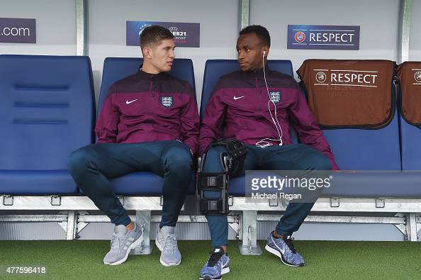 John Stones and Saido Berahino look on before the UEFA Under21 European Championship 2015 Group B match between England and Portugal at Mestsky...