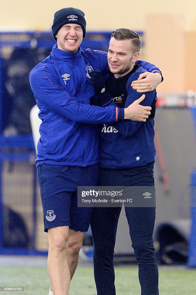 John Stones and Tom Cleverley (R) in high spirits during the Everton training session at Finch Farm on February 11, 2016 in Halewood, England.
