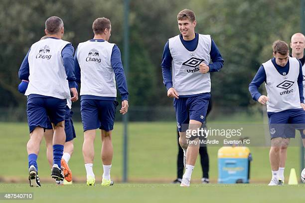 John Stones in action during the Everton training session at Finch Farm on September 10 2015 in Halewood England