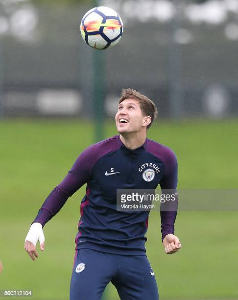 John Stones in ation during a training session at Manchester City Football Academy on October 11 2017 in Manchester England