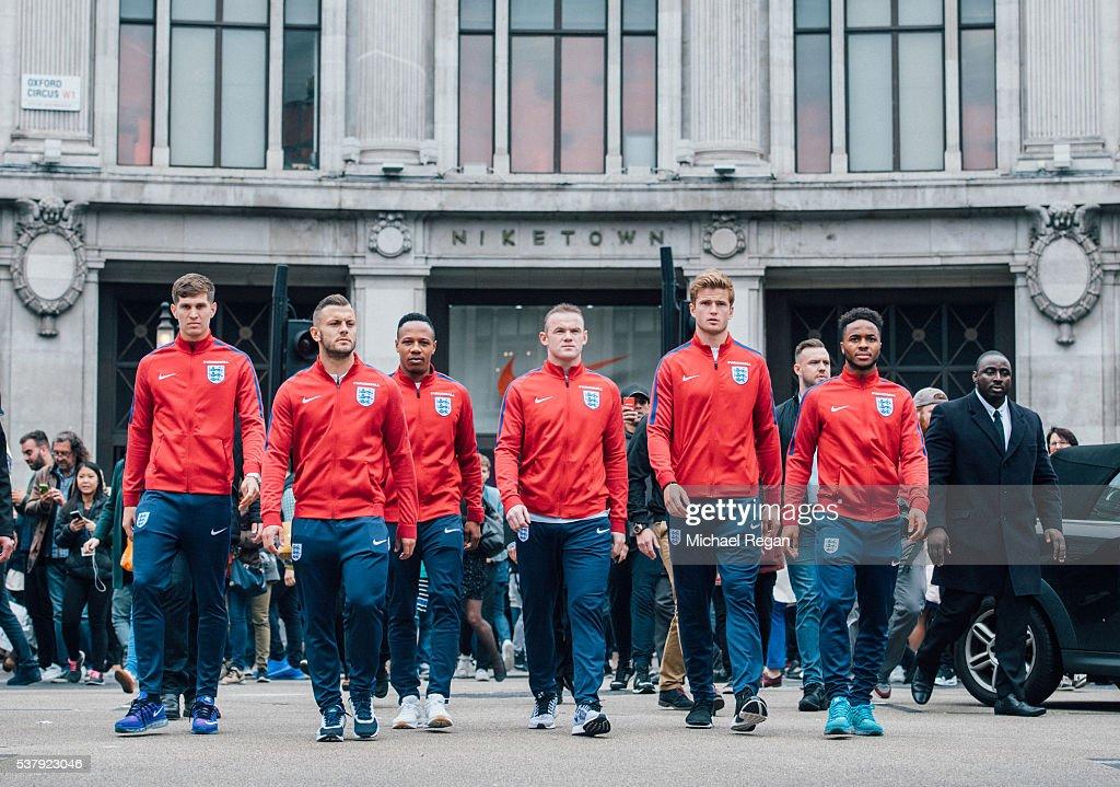 John Stones Jack Wilshere Nathanial Clyne Wayne Rooney Eric Dier and Raheem Sterling during London's England National Team SendOff at NikeTown on...