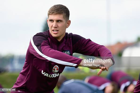 John Stones looks on during the England U21 training session on June 16 2015 in Olomouc Czech Republic
