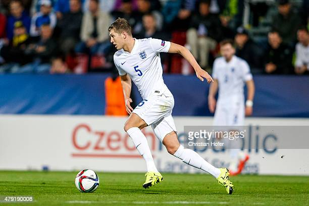 John Stones of England controls the ball during the UEFA Under21 European Championship 2015 match between England and Italy at Andruv Stadium on June...