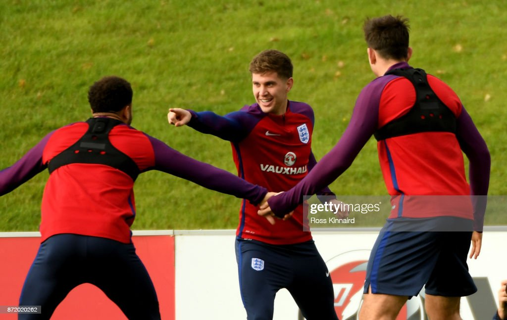 John Stones of England in action during a England training session at St Georges Park on November 9, 2017 in Burton-upon-Trent, England.