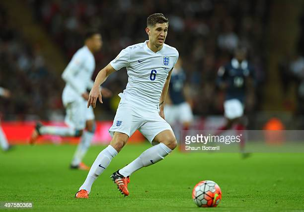 John Stones of England in action during the International Friendly match between England and France at Wembley Stadium on November 17 2015 in London...