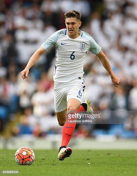 John Stones of England in action during the International Friendly match between England and Turkey at Etihad Stadium on May 22 2016 in Manchester...