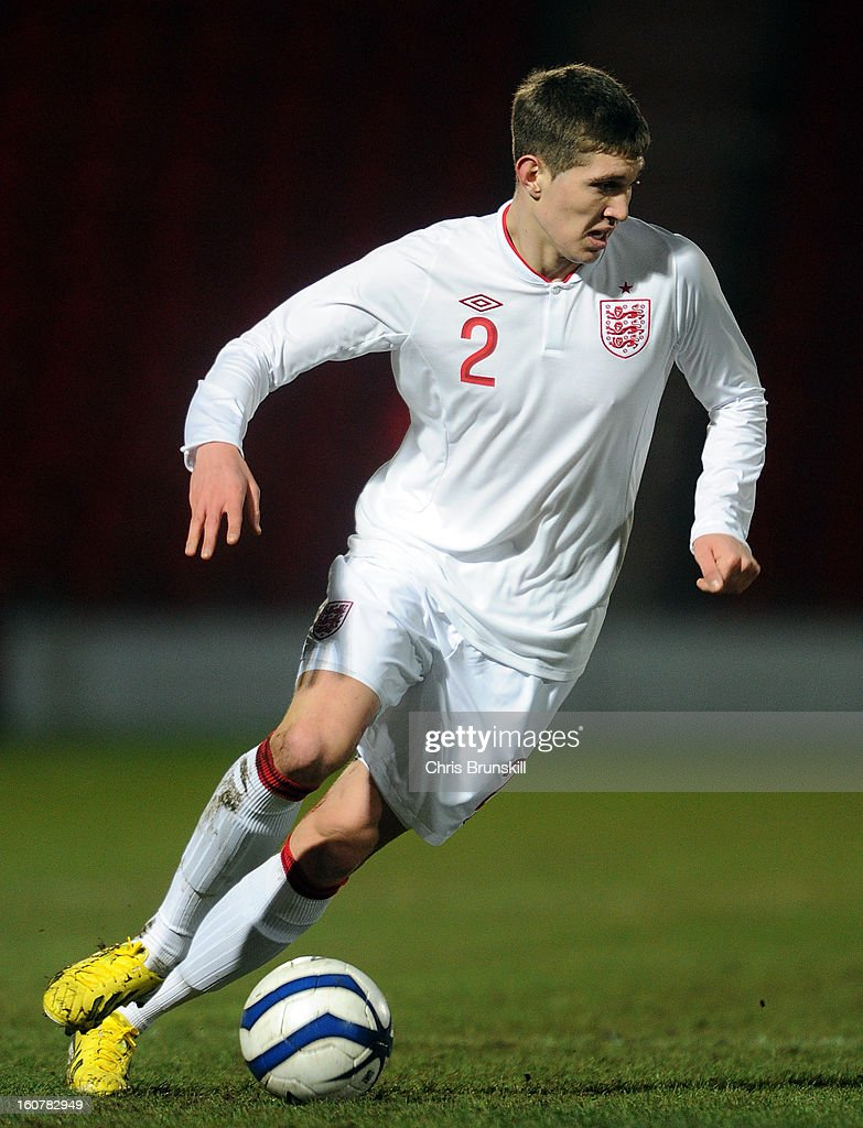 John Stones of England U19 in action during the International Match between England U19 and Denmark U19 at Keepmoat Stadium on February 5, 2013 in Doncaster, England.