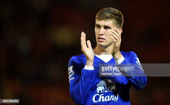 John Stones of Everton applauds the fans after the Capital One Cup second round match between Barnsley and Everton at Oakwell Stadium on August 26...