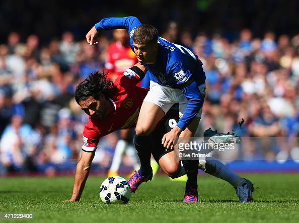 John Stones of Everton battles with Radamel Falcao Garcia of Manchester United during the Barclays Premier League match between Everton and...