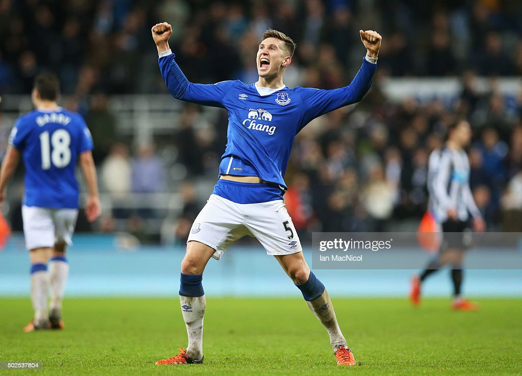 John Stones of Everton celebrates victory after the Barclays Premier League match between Newcastle United and Everton at St James' Park on December...