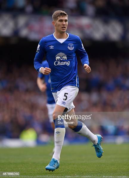John Stones of Everton in action during the Barclays Premier League match between Everton and Chelsea at Goodison Park on September 12 2015 in...