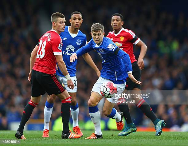 John Stones of Everton in action during the Barclays Premier League match between Everton and Manchester United at Goodison Park on October 17 2015...