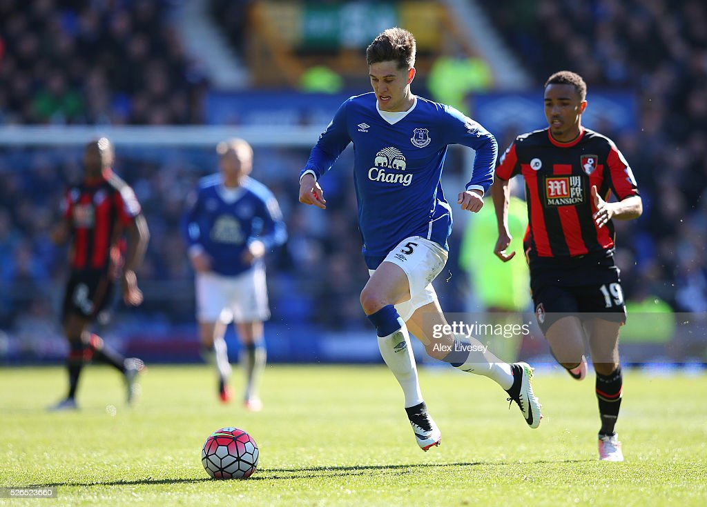 John Stones of Everton in action during the Barclays Premier League match between Everton and A.F.C. Bournemouth at Goodison Park on April 30, 2016 in Liverpool, England.