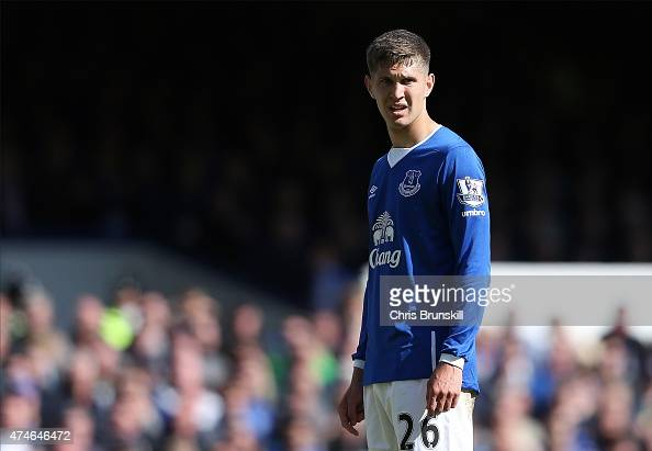 John Stones of Everton looks on during the Barclays Premier League match between Everton and Tottenham Hotspur at Goodison Park on May 24 2015 in...