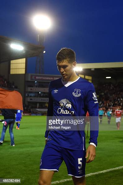 John Stones of Everton walks off dejected at half time during the Capital One Cup second round match between Barnsley and Everton at Oakwell Stadium...