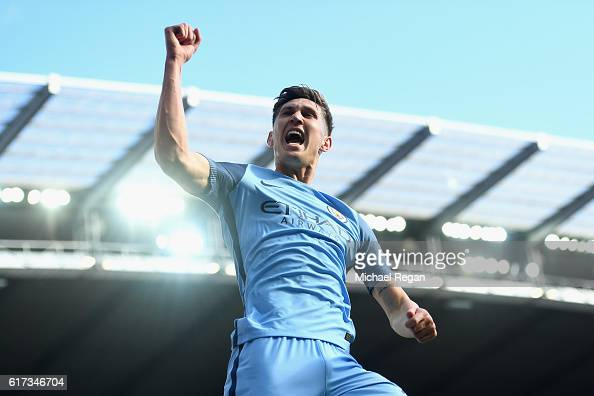 John Stones of Manchester City celebrates after scoring a goal which was later disallowed for offside during the Premier League match between...