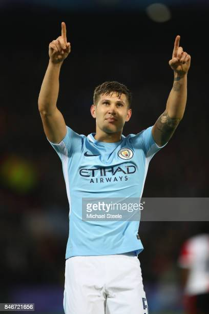 John Stones of Manchester City celebrates scoring his second goal during the UEFA Champions League group F match between Feyenoord and Manchester...