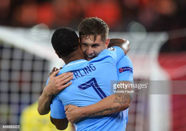 John Stones of Manchester City celebrates scoring his sides fourth goal with Raheem Sterling of Manchester City during the UEFA Champions League...