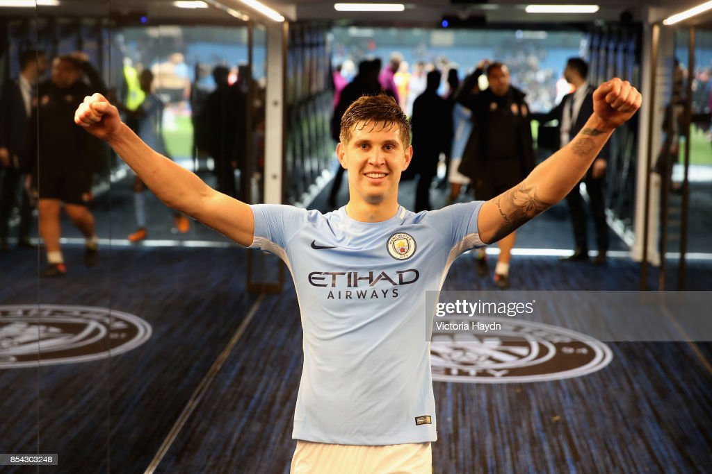 John Stones of Manchester City celebrates victroy in the tunnel after the UEFA Champions League Group F match between Manchester City and Shakhtar Donetsk at Etihad Stadium on September 26, 2017 in Manchester, United Kingdom.