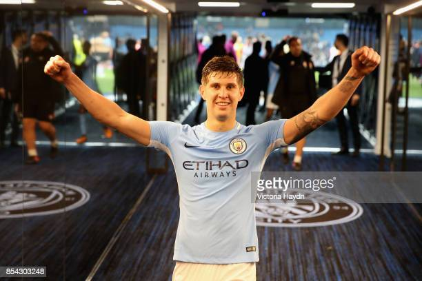 John Stones of Manchester City celebrates victroy in the tunnel after the UEFA Champions League Group F match between Manchester City and Shakhtar...