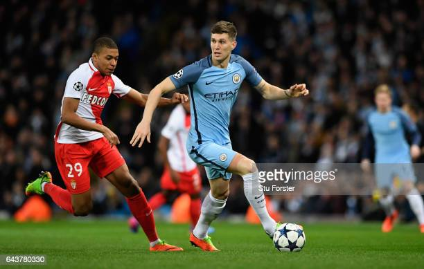 John Stones of Manchester City in action during the UEFA Champions League Round of 16 first leg match between Manchester City FC and AS Monaco at...