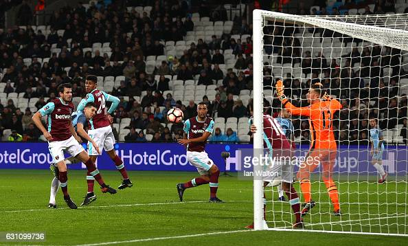 John Stones of Manchester City scores his sides fifth goal during The Emirates FA Cup Third Round match between West Ham United and Manchester City...