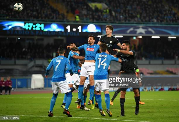 John Stones of Manchester City scores his sides second goal during the UEFA Champions League group F match between SSC Napoli and Manchester City at...