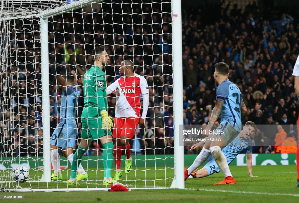 John Stones of Manchester City scores their fourth goal during the UEFA Champions League Round of 16 first leg match between Manchester City FC and AS Monaco at Etihad Stadium on February 21, 2017 in Manchester, United Kingdom.